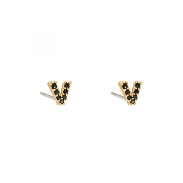 oorbellen V mini goud zwart