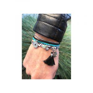 armband koord turquoise, zwart, zeeuwse knop