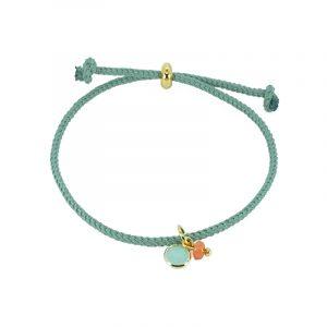 Koord armband groen met bedels