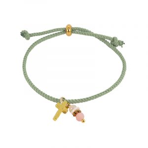 armband koord groen met bedels