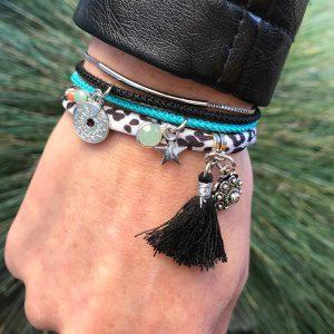 armbanden set elastiek, koord en stainles steels