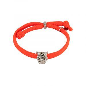 Elastiek armband oranje met panterkop