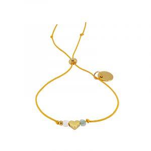 Armband geel hartje en kraaltjes