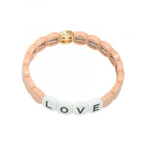 armband colourful love round roze