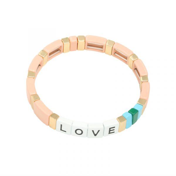 armband colourful love roze