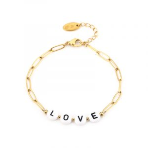 stainless steel armband goud love