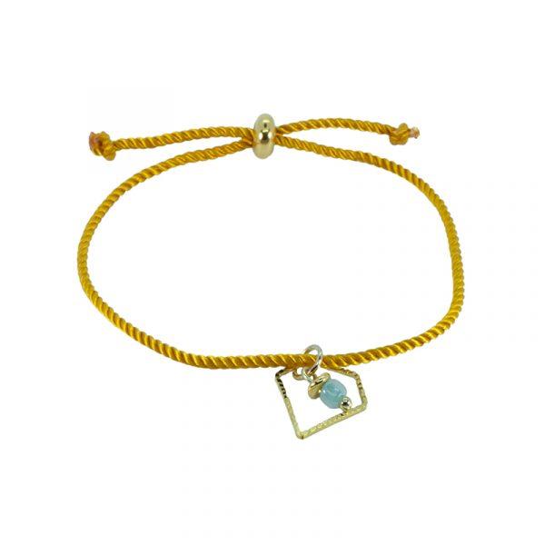 Armband koord geel met diamant