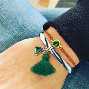 Armbanden set groen blingertjes