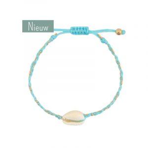 schelp armband aqua blauw en goud