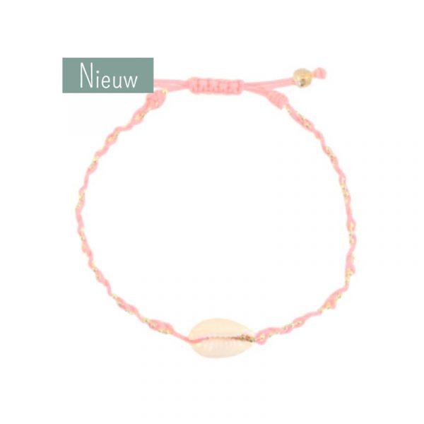 schelp armband roze met goud