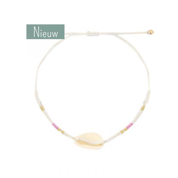 schelp armband met wit, roze en goud kraaltjes