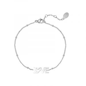 armband stainless steel dotted love zilver