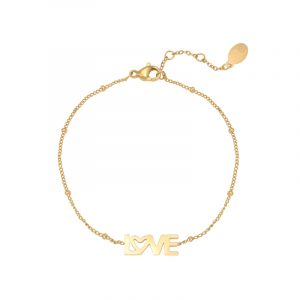 armband stainless steel dotted love goud