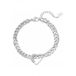 armband chained heart stainless steel zilver