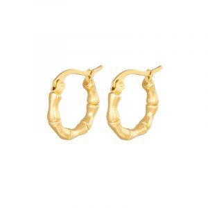 oorbellen hoops bamboo stainless steel goud