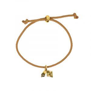 armband koordarmband koord licht bruin met bedel en kraaltjes beige met bedel
