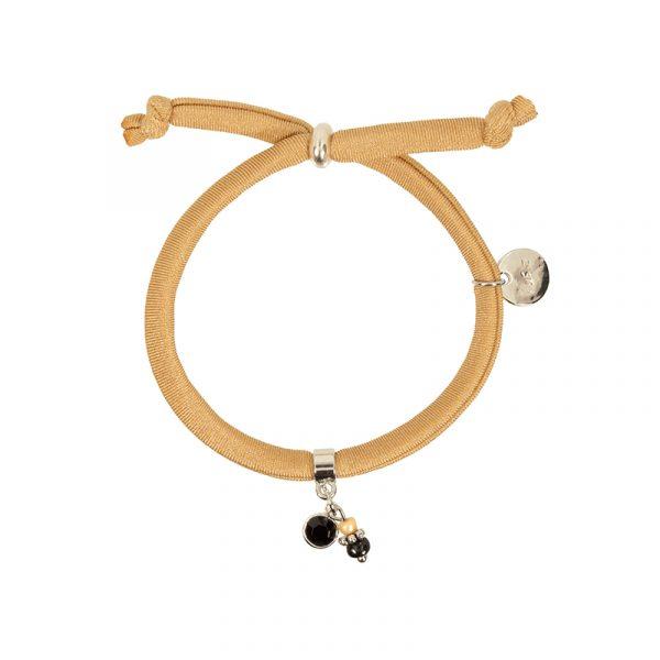 armband elastiek beige met facetbedel en glaskralen