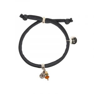 armband grijs rond elastiek met bedel en kralen