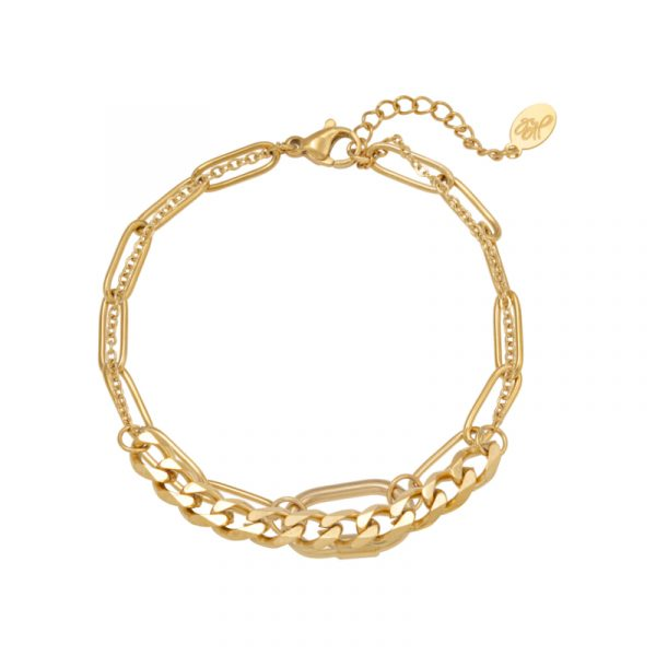 armband chains two in one stainless steel goud