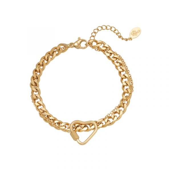 armband chained heart stainless steel goud
