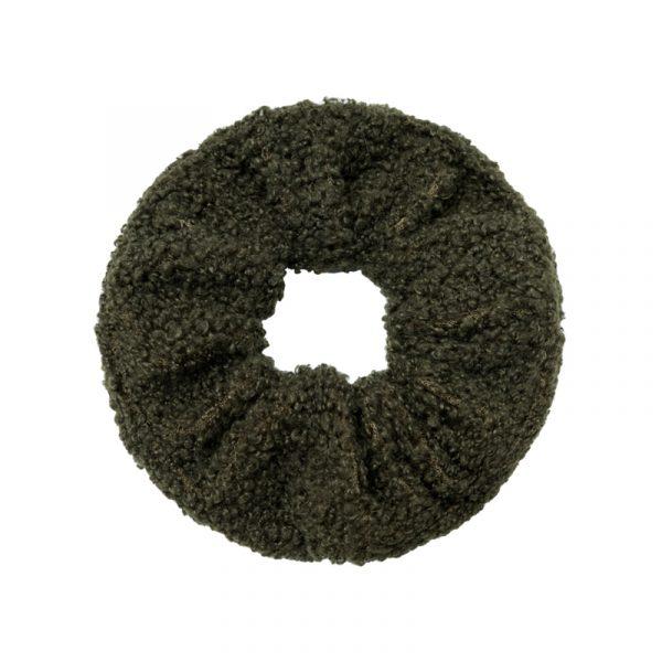 scrunchie soft teddy groen