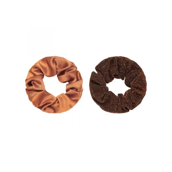 scrunchie roest bruin met glitter