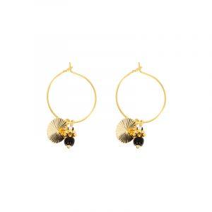 oorbellen stainless steel goud met zwart enwit