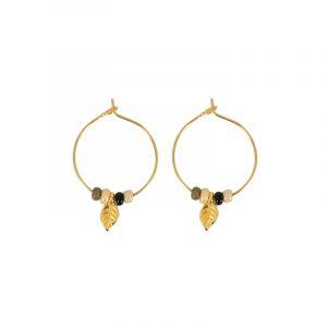 oorbellen stainless steel goud veertje en glaskralen