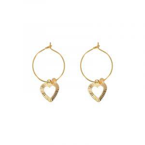 oorbellen goud stainless steel hart