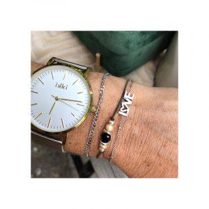 Armband elastiek en kralen en stainless steel