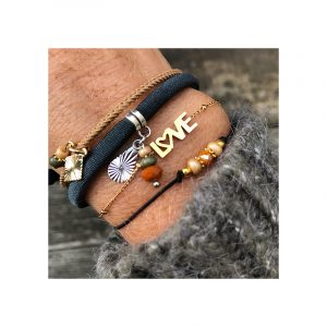 Armbanden set elastiek, kralen en stainless steel love
