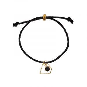 koord armband zwart met diamant en blinger