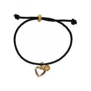 koord armband zwart met hartje en blinger