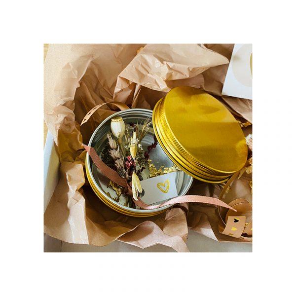 Giftbox Goud blikje met droogbloemen