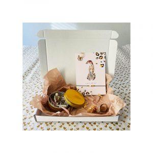 Giftbox chita armband en oorbellen,goud blikje bloemen
