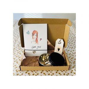 Giftbox shine girl kaart armband, oorbellen, blikje bloemen
